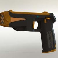 Pistola Spark, uma nova proposta em Dispositivos Elétricos Incapacitantes (Pistolas Elétricas), para utilização em um raio médio de 10m . Foto - CONDOR