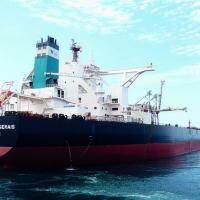 O navio Vale Minas Gerais, do modelo Valemax, atracado nas Filipinas. De lá, a carga é levada à China em navios menores.