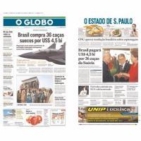 Primeiras Páginas dos principais jornais brasileiros: O Globo, Rio de Janeiro e O Estado de São Paulo - Arte - DefesaNet