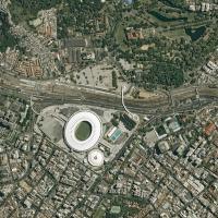 O conhecido e inconfundível estádio do Maracanã. Imagem de Março 2014. Foto - Pleiádes