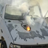 Detalhe do motor incinerado pelo laser ATHENA durante testes de campo