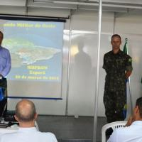 No dia 21 de março, o Comandante do Regimento Marechal Dutra, o Tenente-Coronel Hélcio Miranda Duque Botelho, abriu o Ciclo de Palestras sobre Segurança na Fronteira, na FAMASUL. Foto 11º RCMec