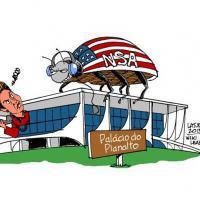 Charge publicada no site Wikileaks satiriza a espionagem dos EUA a integrantes do governo Dilma. Foto: Reprodução / Wikileaks