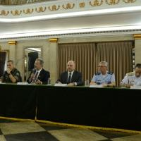 Minister of defense and main military chiefs in press conference this sunday, 24July 2016.  Photo - Tomaz Silva/Agência Brasil