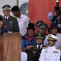O presidente boliviano, Evo Morales (E), discursa durante inauguração da Escola Juan José Torres, em Warnes, Bolívia, no dia 17 de agosto de 2016