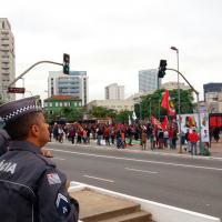 Foto distribuída pela Polícia Militar do Estado de São Paulo nas manifestações de 28 Abril 2017.