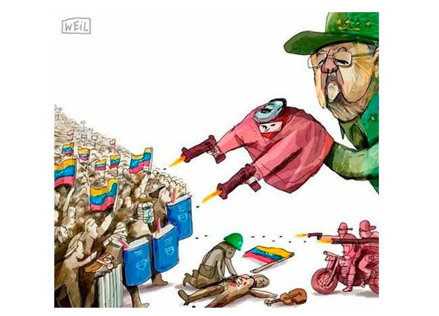 Resultado de imagem para charge contra ditadura de maduro