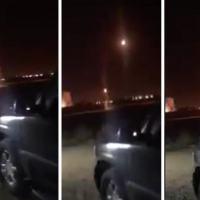 Sequencia de fotos mostrando o disparo de mísseis Patriot em Riad para interceptar míssil lançado pelos Hutis.