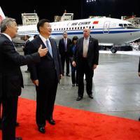 Visita de Xi Jinping ás instalações da Boeing em Seattle, no fim de 2016.