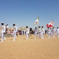 NAMÍBIA - Cerimônia de Encerramento dos Cursos do Corpo de Fuzileiros Navais. Desfile dos formandos em continência ao Captain (N) N. Z. SHIKONGO