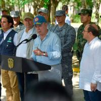 O presidente Juan Santos dá uma entrevista em, 10Fevereiro 2018,  após ataques da ELN @JuanManSantos @infopresidencia