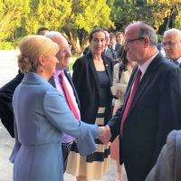 Na foto: Joseph Weiss, CEO da IAI CEO; o presidente de Israel, Reuven Rivlin; e a presidente da Croácia, Kolinda Grabar-Kitarovi?.