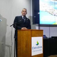 Diretor-Presidente da AMAZUL, Antonio Soares Guerreiro, discursa em evento de assinatura do convênio com a ELETRONUCLEAR