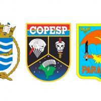 A partir da Esquerda:  Comando Naval de Operações Especiais (CoNavOpEsp), Comando de Operações Especiais (COpEsp) e Esquadrão Aeroterrestre de Salvamento  (PARA-SAR)