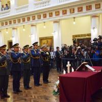 A presidente da Bolívia Jeanine Áñez comanda a posse do  novo Alto- Comando Militar da Bolivia,  em 13NOV2019 Foto Agência ABI