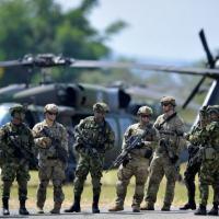 ropas americanas e colombianas participam de exercícios militares em Tolemaida, na Colômbia, em 26 de janeiro de 2020