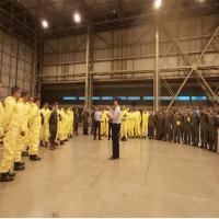 WUHAN - Exército atua na segurança biológica com descontaminação de aeronaves e Hospital de Campanha
