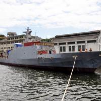 Um dos NaPa inacabados ancorados no Arsenal da Marinha do Rio de Janeiro.