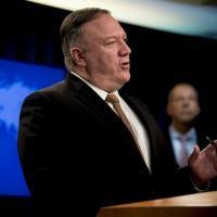 O chefe da diplomacia dos Estados Unidos, Mike Pompeo, discursa em evento no Departamento de Estado