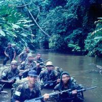 Eqp Op Comandos do 1º Ten Cardoso em deslocamento na selva