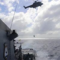 Foram realizados exercícios de evacuação aeromédica, além de içamento de arriamento de cargas pesadas e leves