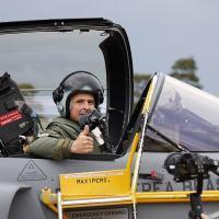 Major Aviador Cristiano de Oliveira Peres, piloto de provas da Força Aérea Brasileira (FAB) ao comando do Gripen E. Foto SAAB