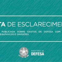 Matéria publicada sobre gastos de Defesa com pessoal contém equívocos e omissões