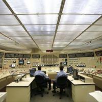 A sala de controle de uma usina nuclear.
