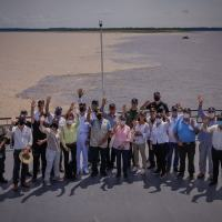 On Negro River and Solimoes River, near Manaus city, the team photo.