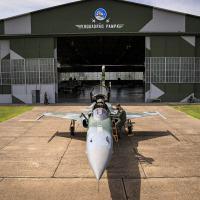 Caça F-5M do Esquadrão Pampa (1º/14º), unidade que testou o Sistema Link-BR2