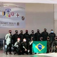 Membros da Delegação Brasileira à Operação Cumninating, na chegada de segunda-feira (04JAN21), no (Joint Readiness Training Center, em Fort Polk Foto JRTC