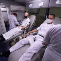 Militares realizaram doação de sangue de forma voluntária