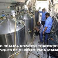 KC-390 Millennium realiza primeiro transporte de tanques de oxigênio para Manaus