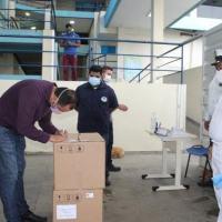 Entrega dos respiradores no Hospital Beneficente Português, em Manaus