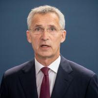Jens Stoltenberg, secretário-geral da OTAN, durante coletiva de imprensa em 27 de agosto de 2020 em Berlim