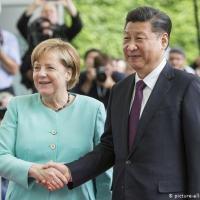 Merkel e o Lider chinês, Xi Jinping durante encontro em Berlim