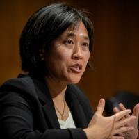 A representante comercial dos Estados Unidos, Katherine Tai, durante audiência de confirmação de sua nomeação no Senado, em Washington, DC, em 25 de fevereiro de 2021