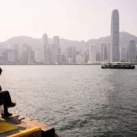 Vista de Hong Kong do porto Victoria