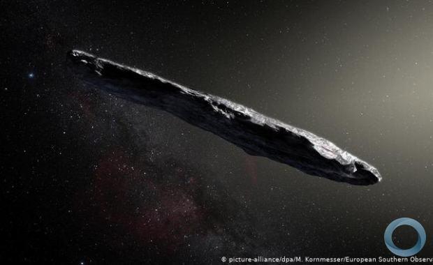 Cientistas apontam que Oumuamua tinha o formato de um biscoito, e não de um charuto, como mostra a ilustração