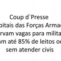 Coup d´Presse- Hospitais das Forças Armadas reservam vagas para militares e deixam até 85% de leitos ociosos sem atender civis