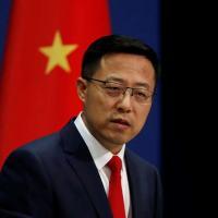 Porta-voz do Ministério das Relações Exteriores da China Zhao Lijian durante entrevista coletiva em Pequim
