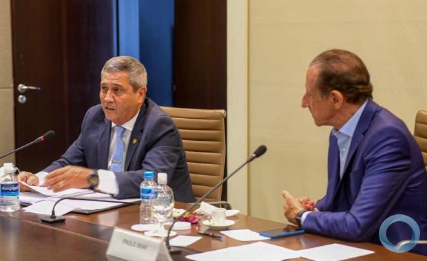 Ministro da Defesa Braga Netto e o Presidente da FIESP, Paulo Skaf. na reunião de apresentação da 1ª FINTECH de Defesa no Mundo