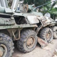 Viatura blindada BTR-80 da FANB ( Fuerza Armada Nacional Bolivariana) segundo fontes destruído por um RPG
