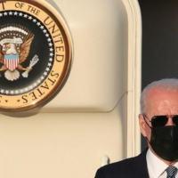 Presidente dos EUA, Joe Biden, desembarca no aeroporto militar de Melsbroek, em 13 jun. 2021, em Bruxelas