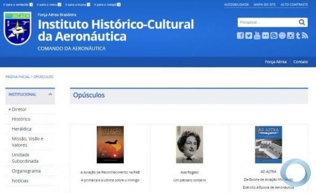 Página dentro do site da FAB, que traz em formato digital, obras que contam a história da Aviação brasileira.
