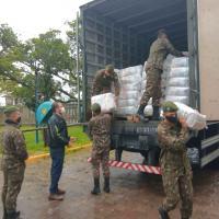 Distribuição de cerca de 48,3 mil cestas básicas. A ação, realizada em apoio ao estado do Rio Grande do Sul.