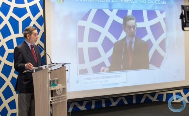 Astronauta e ministro da Ciência, Tecnologia e Inovações participou do evento que lançou o espaço que conta com o CCAB Lab, a plataforma Ellos Blockchain e o comitê de Inovação da entidade. Foto ANBA