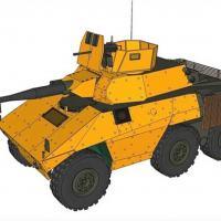 Concepção artística apresentada pela EODH S/A para o EE-9 Cascavel de Chipre. Notar em amarelo a blindagem adicional ASPIS e em marrom a blindagem Gaiola ao redor de sua traseira. (Foto: EODH S/A)
