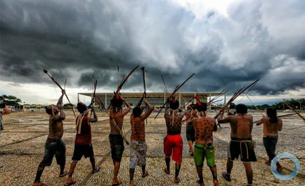 Indígenas em Brasília para o julgamento do Marco temporal, Caso Xokleng. Brasília DF Agosto-Setembro 2021